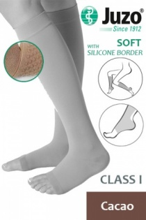 Juzo Soft Class 1 Cacao Calf Compression Stockings with Open Toe and Silicone Border