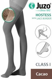 Juzo Hostess Class 1 Cacao Thigh High Compression Stockings with Lace Silicone Border