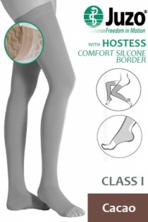Juzo Hostess Class 1 Cacao Thigh High Compression Stockings with Open Toe and Comfort Silicone Border
