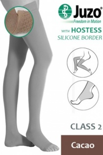 Juzo Hostess Class 2 Cacao Thigh High Compression Stockings with Open Toe and Silicone Border