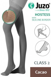 Juzo Hostess Class 2 Cacao Thigh High Compression Stockings with Silicone Border