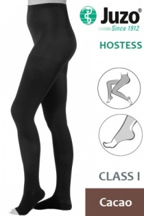 Juzo Hostess Class 1 Cacao Compression Tights with Open Toe
