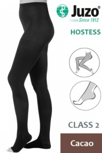 Juzo Hostess Class 2 Cacao Compression Tights with Open Toe