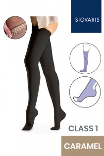 Sigvaris Essential Comfortable Unisex Class 1 Thigh High Caramel Compression Stockings with Grip Top and Open Toe