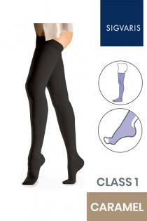 Sigvaris Essential Comfortable Unisex Class 1 Thigh High Caramel Compression Stockings with Open Toe