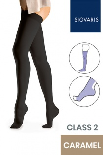 Sigvaris Essential Comfortable Unisex Class 2 Thigh High Caramel Compression Stockings with Open Toe