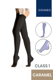 Sigvaris Essential Comfortable Unisex Class 1 Caramel Compression Tights with Open Toe