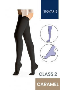 Sigvaris Essential Comfortable Unisex Class 2 Caramel Compression Tights with Open Toe