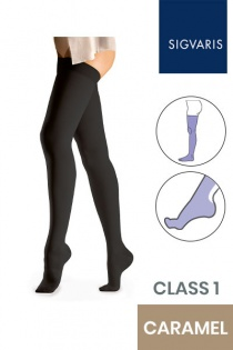 Sigvaris Essential Comfortable Unisex Class 1 Thigh High Caramel Compression Stockings