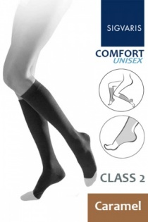 Sigvaris Unisex Comfort Class 2 Caramel Calf Compression Stockings with Open Toe