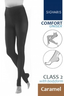 Sigvaris Unisex Comfort Class 2 Caramel Bodyform Compression Tights with Open Toe
