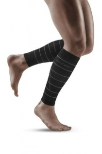 CEP Black Reflective Calf Compression Sleeves for Men