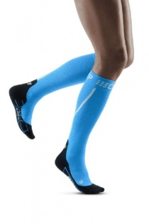 CEP Black/Electric Blue Winter Running Compression Socks for Women