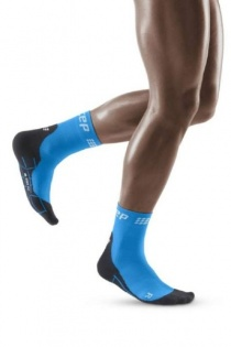 CEP Electric Blue/Black Winter Running Short Compression Socks for Men