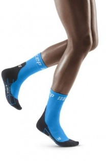 CEP Electric Blue/Black Winter Running Short Compression Socks for Women