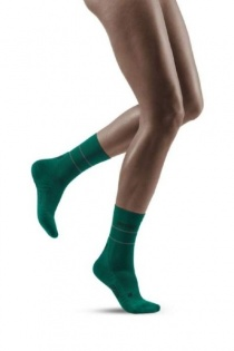 CEP Green Reflective Mid-Cut Compression Socks for Women