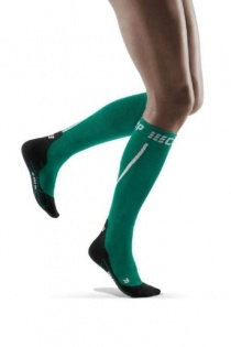 CEP Green/Black Winter Running Compression Socks for Women