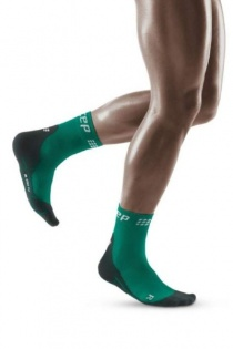 CEP Green/Black Winter Running Short Compression Socks for Men