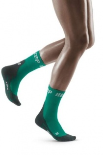 CEP Green/Black Winter Running Short Compression Socks for Women