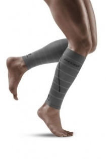 CEP Grey Reflective Calf Compression Sleeves for Men