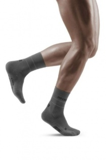 CEP Grey Reflective Mid-Cut Compression Socks for Men