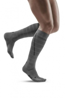 CEP Grey Reflective Running Compression Socks for Men