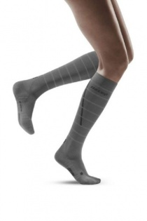 CEP Grey Reflective Running Compression Socks for Women