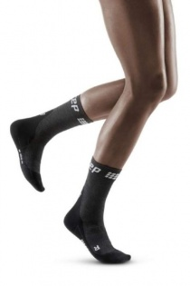 CEP Grey/Black Winter Running Short Compression Socks for Women