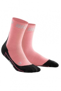CEP Light Rose/Black Winter Running Short Compression Socks for Women