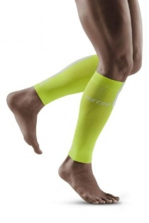 CEP Lime/Grey 3.0 Compression Calf Sleeves for Men