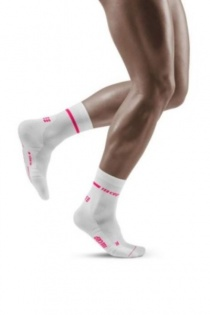 CEP Men's White and Pink Neon Mid-Cut Compression Socks for Running