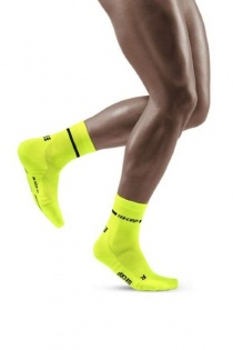 CEP Men's Yellow Neon Mid-Cut Compression Socks for Running