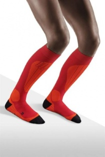 CEP Ski Thermo Orange/Cranberry Compression Socks for Women