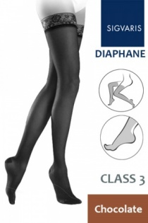 Sigvaris Diaphane Class 3 Chocolate Thigh Compression Stockings