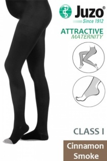 Juzo Attractive Class 1 Cinnamon Smoke Maternity Compression Tights with Open Toe