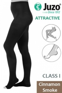 Juzo Attractive Class 1 Cinnamon Smoke Compression Tights with Open Toe