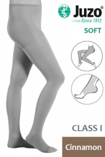 Juzo Soft Class 1 Cinnamon Compression Tights with Open Toe