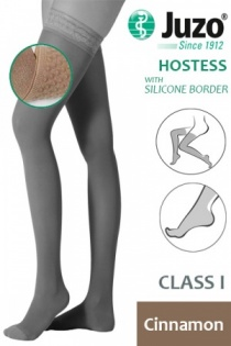 Juzo Hostess Class 1 Cinnamon Thigh High Compression Stockings with Silicone Border