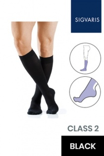 Sigvaris Active Masculine Class 2 Knee High Black Compression Stockings