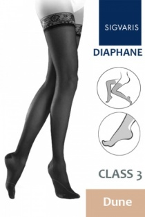 Sigvaris Diaphane Class 3 Dune Thigh Compression Stockings