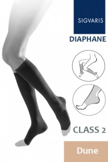 Sigvaris Diaphane Class 2 Dune Calf Compression Stockings with Open Toe