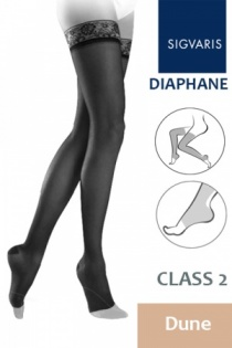 Sigvaris Diaphane Class 2 Dune Thigh Compression Stockings with Open Toe