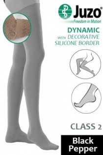 Juzo Dynamic Class 2 Black Pepper Thigh High Compression Stockings with Decorative Silicone Border