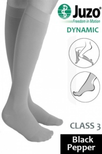 Juzo Dynamic Class 3 Black Pepper Knee High Compression Stockings