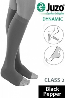 Juzo Dynamic Class 2 Black Pepper Knee High Compression Stockings with Open Toe