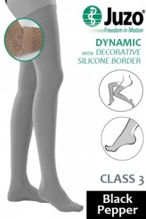 Juzo Dynamic Class 3 Black Pepper Thigh High Compression Stockings with Decorative Silicone Border