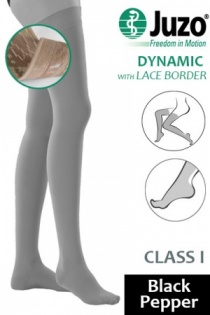 Juzo Dynamic Class 1 Black Pepper Thigh High Compression Stockings with Lace Silicone Border