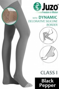 Juzo Dynamic Class 1 Black Pepper Thigh High Compression Stockings with Open Toe and Decorative Silicone Border