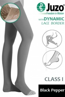Juzo Dynamic Class 1 Black Pepper Thigh High Compression Stockings with Open Toe and  Lace Silicone Border