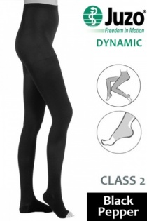 Juzo Dynamic Class 2 Black Pepper Compression Tights with Open Toe